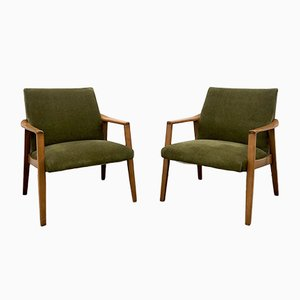 Beech Armchairs, 1960s, Set of 2