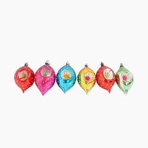 Mid-Century German Glass Christmas Baubles, Set of 6