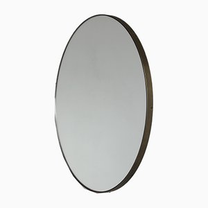 Runder Silver Orbis Spiegel mit Bronzerahmen von Alguacil & Perkoff Ltd