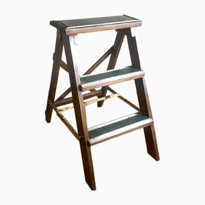 Antique Wood and Brass Library Step Ladder