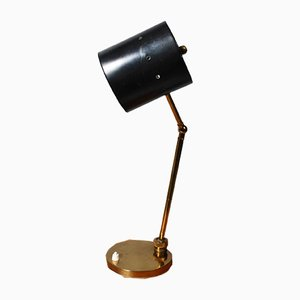 Italian Aluminum and Brass Desk Lamp, 1950s