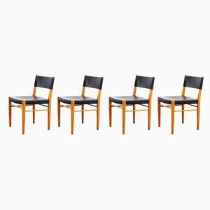 Esszimmerstühle aus Kirschholz & Leder, 1960er, 4er Set