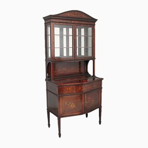 Antique Mahogany and Marquetry Inlaid Display Cabinet