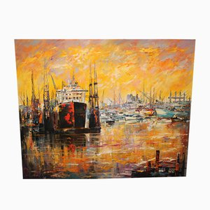 Vintage Hamburg Harbour Artwork by Christian Henze