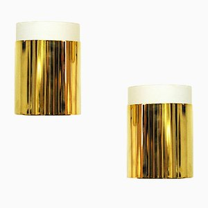 Applique in vetro opalino e ottone di Falkenbergs Belysning, anni '70, set di 2