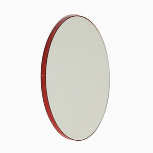 Small Silver Orbis Wall Mirror with Red Frame by Alguacil & Perkoff