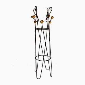 Clef Garderobenständer aus braun lackiertem Metall von Roger Feraud, 1950er