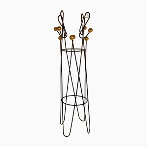 Treble Clef Brown Lacquered Metal Coat Rack by Roger Feraud, 1950s