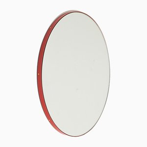 Round Silver Orbis Mirror With Red Frame by Alguacil & Perkoff