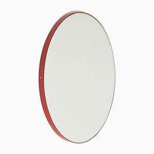 Runder Silver Orbis Spiegel mit rotem Rahmen von Alguacil & Perkoff