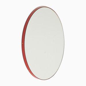 Specchio rotondo Orbis argentato con cornice rossa di Alguacil & Perkoff