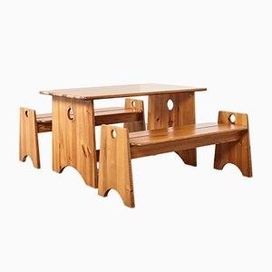 Mid-Century Swedish Pine Benches by Gilbert Marklund for Furusnickarn AB, Set of 3