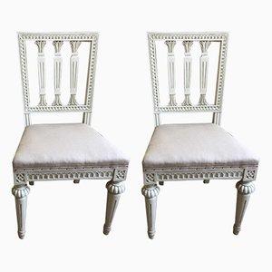 Antike gustavianische Esszimmerstühle, 2er Set