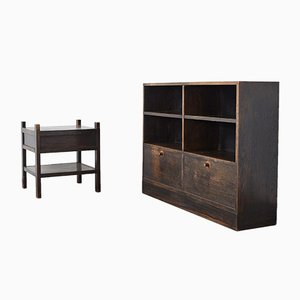 Dutch Dark Wood Cabinet and Side Table, 1930s, Set of 2
