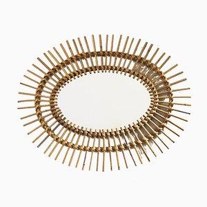 Specchio ovale vintage in vimini