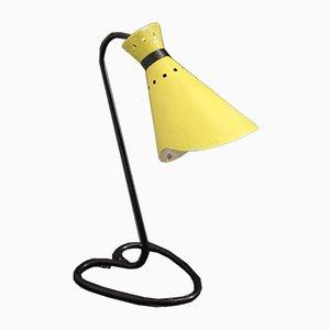 Lampe de Bureau Ajustable Vintage Noire et Jaune, France, 1950s