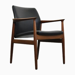 Mid-Century Danish Teak and Black Leather Armchair by Grete Jalk for Glostrup Mobelfabrik