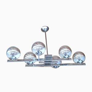 Lampada da soffitto in metallo cromato e vetro, anni '70