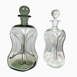 Glass Decanters Set by Jacob E. Bang for Kastrup-Holmegaard, 1960s, Set of 2
