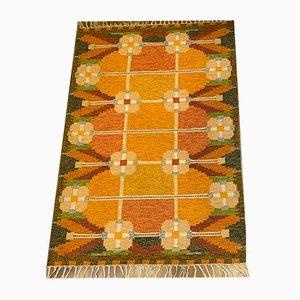 Flachgewebter schwedischer Rölakan Teppich von Ingegerd Silow, 1960er