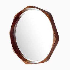 Specchio da parete in teak di Rimbert Sandholdt per Jansen Spejle, anni '60