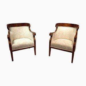 Chaises Antiques en Placage de Noyer et Velours Crème, Set de 2