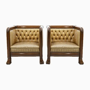 Art Deco Club Chairs, 1920s, Set of 2
