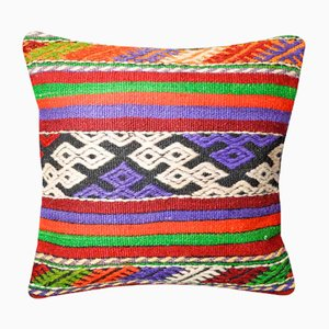 Green, Purple & Red Southwestern Kilim Pillow Cover from Zencef