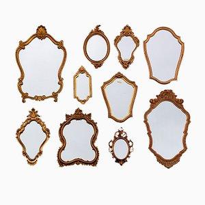 Specchi in stile fiorentino, anni '70, set di 10