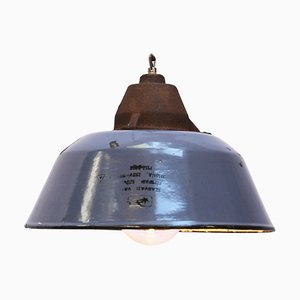 Blue Enamel and Clear Glass Cast Iron Pendant Lamp, 1950s