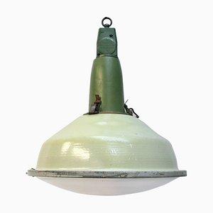 Lampe à Suspension Ronde en Émail Vert, 1950s