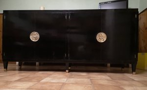 Black Lacquered Sideboard by Jean Pascaud, 1940s