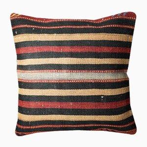 Funda de cojín Kilim a rayas de lana dorada, roja y negra de Zencef