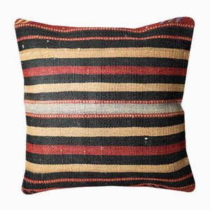 Golden Red and Black Wool Striped Kilim Pillow Cover from Zencef