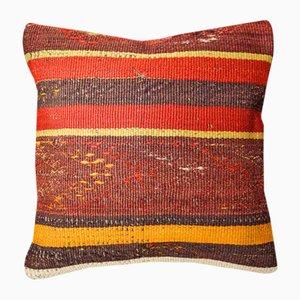 Funda de cojín Kilim en rojo y naranja oscuro de Zencef