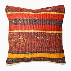 Red and Burnt Orange Kilim Cushion Cover from Zencef