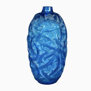 Electric Blue Glass Vase by R.Lalique, 1924