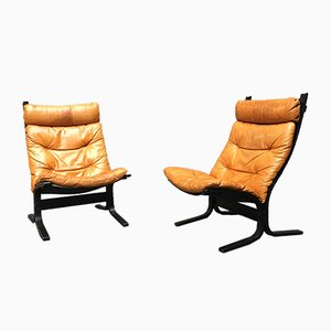 Tan Leather Siesta Armchairs by Ingmar Relling for Westnofa, 1970s, Set of 2