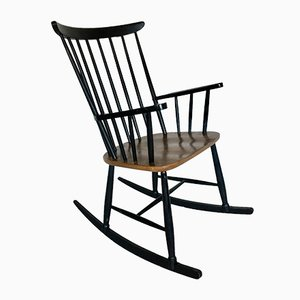 Teak and Black Lacquered Rocking Chair, 1960s
