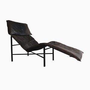 Chaise longue in similpelle marrone di Tord Bjorklund per Ikea, anni '80