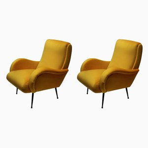 Italian Yellow Velvet Armchairs, 1950s, Set of 2