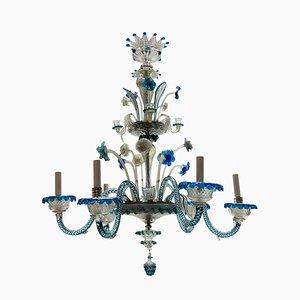 Lámpara de araña antigua de cristal de Murano