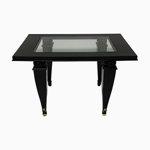 French Black Lacquer, Glass, and Gilt Bronze Coffee Table, 1940s