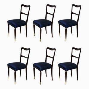 Italienische Esszimmerstühle aus Buche mit Seidenbezügen, 1950er, 6er Set
