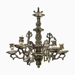 Lámpara de araña flamenca antigua pequeña de bronce plateado