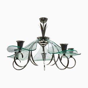 Lámpara de araña italiana de vidrio y latón plateado, años 40