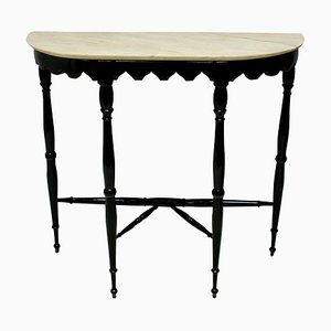 Italian Ebonized and Marble Console Table, 1950s