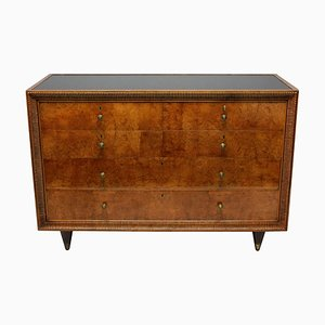 Large Burr Walnut and Brass Dresser by Osvaldo Borsani, 1940s