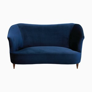Italian Cherry Wood and Blue Velvet Sofa from ISA, 1950s