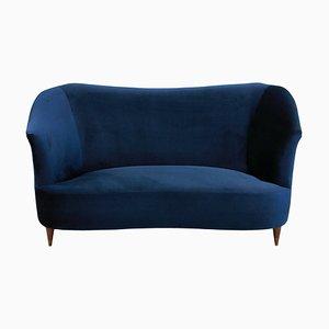 Sofá italiano de madera de cerezo y terciopelo azul de ISA, años 50